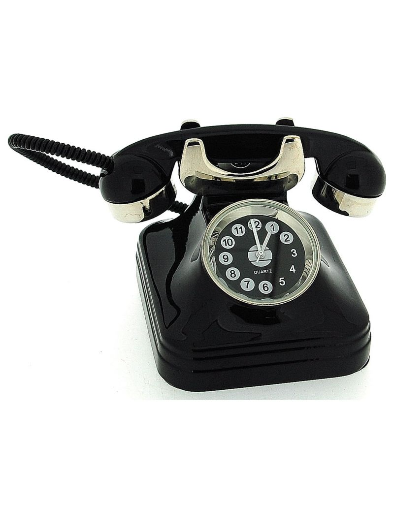 JD Miniature Retro  Telephone / Phone Black Old Style Novelty Collectors Clock
