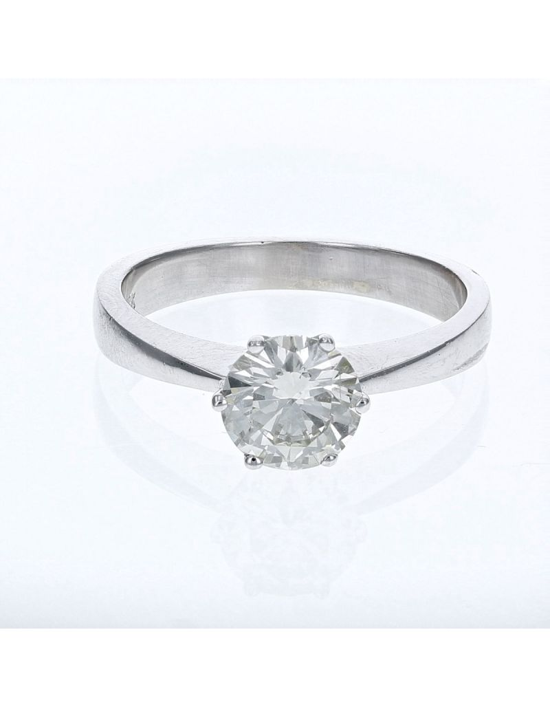 The Olivia Collection Round Brilliant 1.01 Carat AGI Certificated Diamond Ring Set In 18 An Carat White Gold Shank