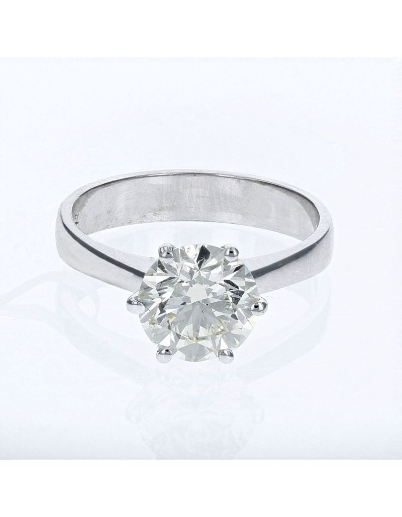 The Olivia Collection Round Brilliant 2.00 Carat AGI Certificated Diamond Ring Set In 18 An Carat White Gold Shank
