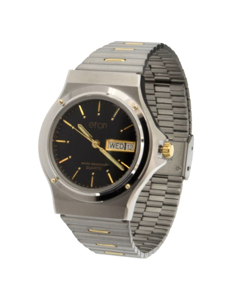 Eton Gents Day Date Calendar Black Dial, Stainless Steel  Strap Watch 1206G