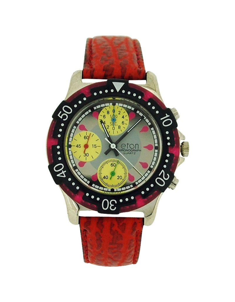 Eton Chronograph Men's Analogue 3 Sub Silver Dial Red PU Strap Watch 1404G