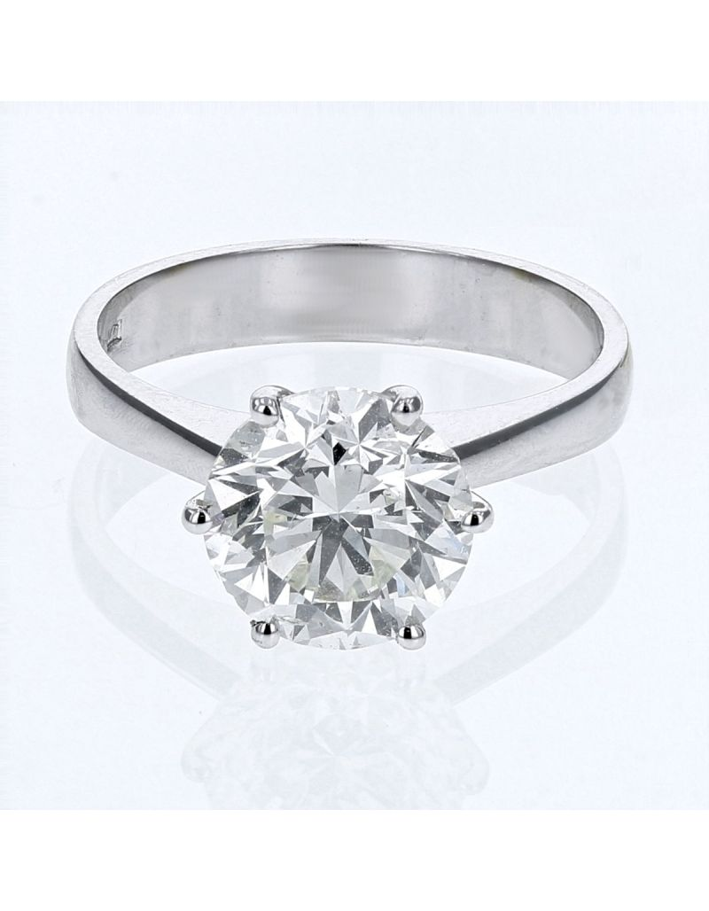 The Olivia Collection Round Brilliant 3.01 Carat AGI Certificated Diamond Ring Set In 18 An Carat White Gold Shank