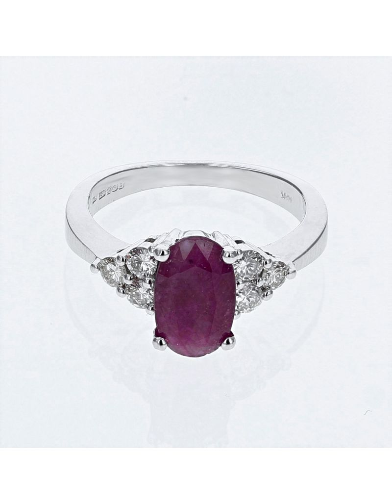 The Olivia Collection 2.51 Carat Oval Ruby Center Stone With Brilliant Round Cut Diamond Shoulders AGI Certificated Diamond Ring Set In 18 An Carat White Gold Shank