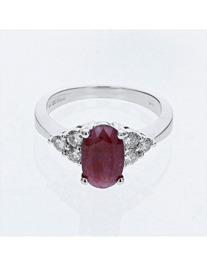 The Olivia Collection 2.15 Carat Oval Ruby Center Stone With Brilliant Round Cut Diamond Shoulders AGI Certificated Diamond Ring Set In 18 An Carat White Gold Shank
