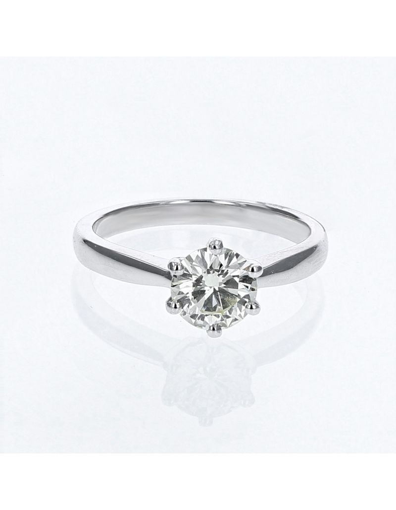The Olivia Collection Round Brilliant 1.06 Carat AGI Certificated Diamond Ring Set In 18 An Carat White Gold Shank