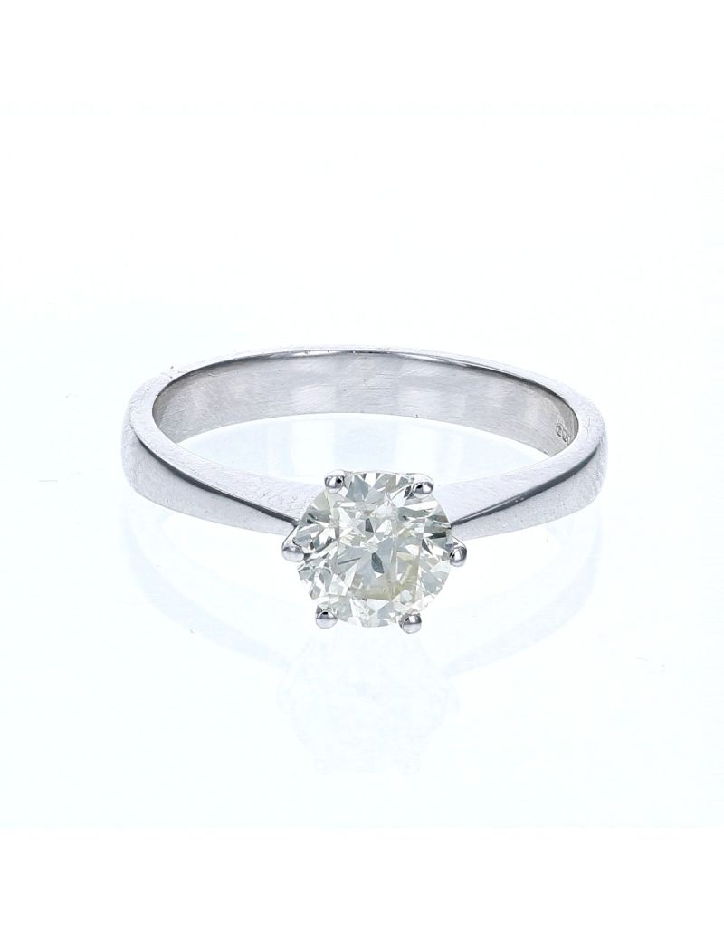 The Olivia Collection Round Brilliant 1.00 Carat AGI Certificated Diamond Ring Set In 18 An Carat White Gold Shank - Unique To Your Love Story