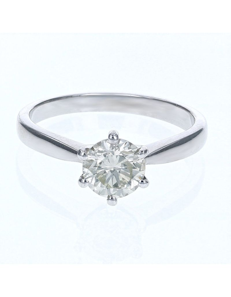 The Olivia Collection Round Brilliant 1.16 Carat AGI Certificated Diamond Ring Set In 18 An Carat White Gold Shank