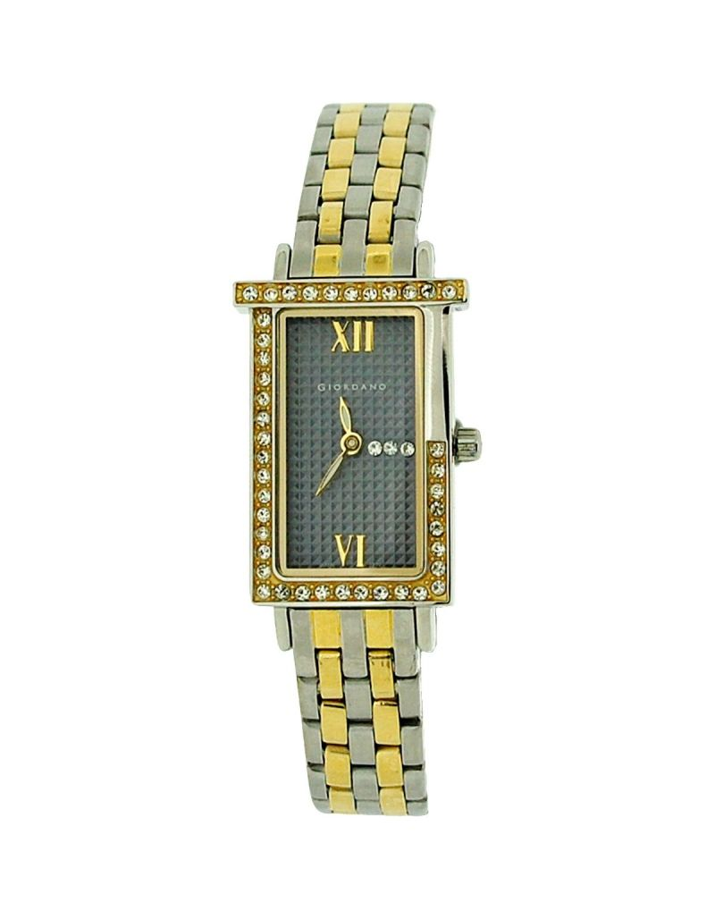 Giordano Ladies Grey Waffle Dial 2 Tone Plated Stainless Steel Strap Watch 2279