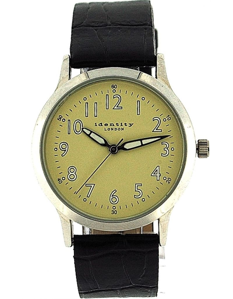 Identity London Basic Gents Beige Dial Luminous Hands Black PU Strap Watch AN73