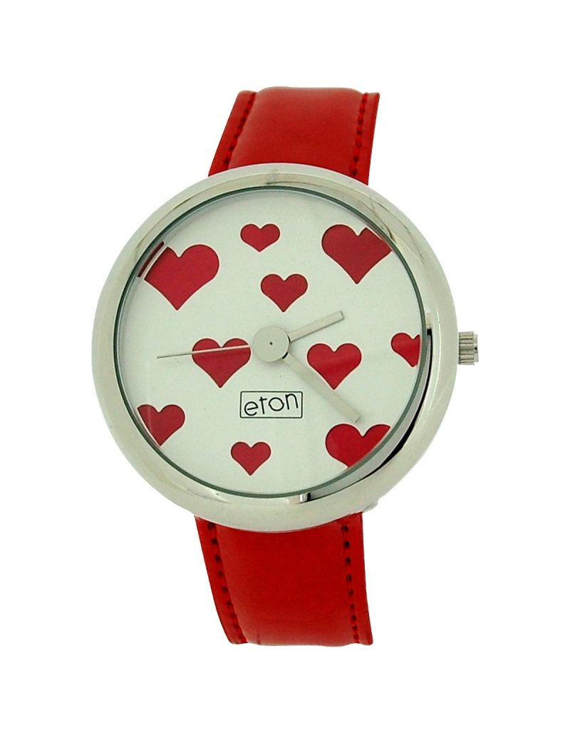 Eton Ladies Analogue Red Hearts & Silver Dial Red PU Strap Dress Watch 2854J