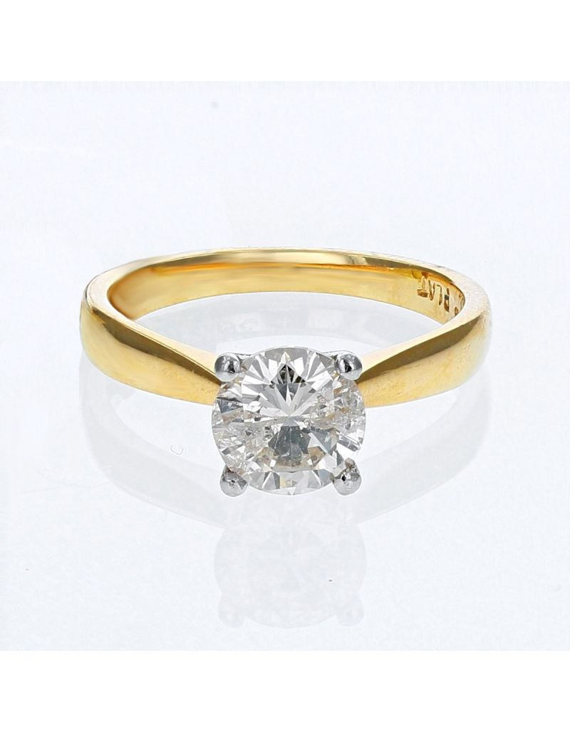 The Olivia Collection Round Brilliant 1.38 Carat AGI Certificated Diamond Ring Set In 18 An Carat Yellow Gold Shank