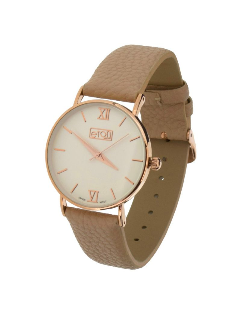 Eton Ladies Rose Goldtone White Dial, Beige Leather Snakeskin Strap Watch 3262L