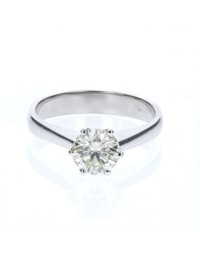 The Olivia Collection Round Brilliant 1.13 Carat AGI Certificated Diamond Ring Set In 18 An Carat White Gold Shank