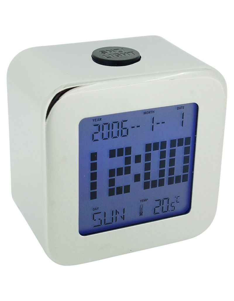 W M Widdop Unisex Silver Chrome Digital Alarm Clock+ Tempreature Day & Date 5337