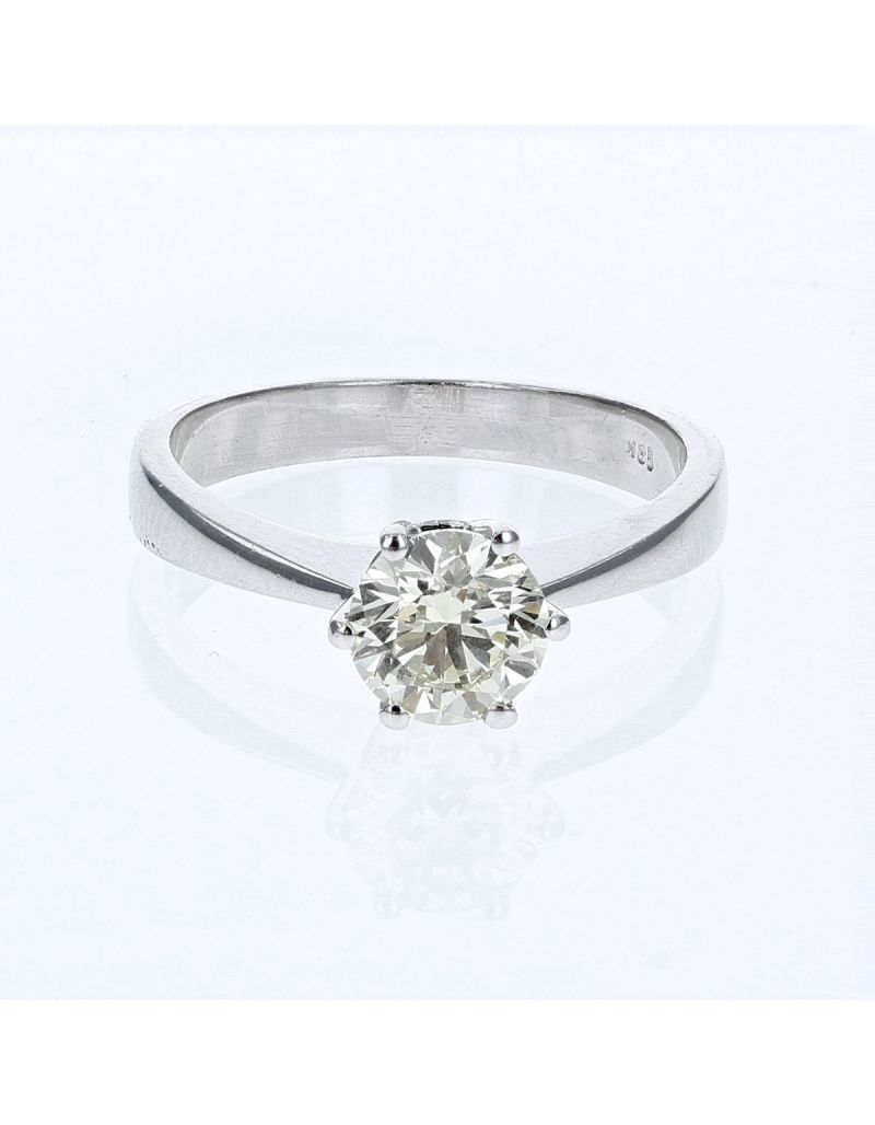 The Olivia Collection Round Brilliant 1.03 Carat AGI Certificated Diamond Ring Set In 18 An Carat White Gold Shank