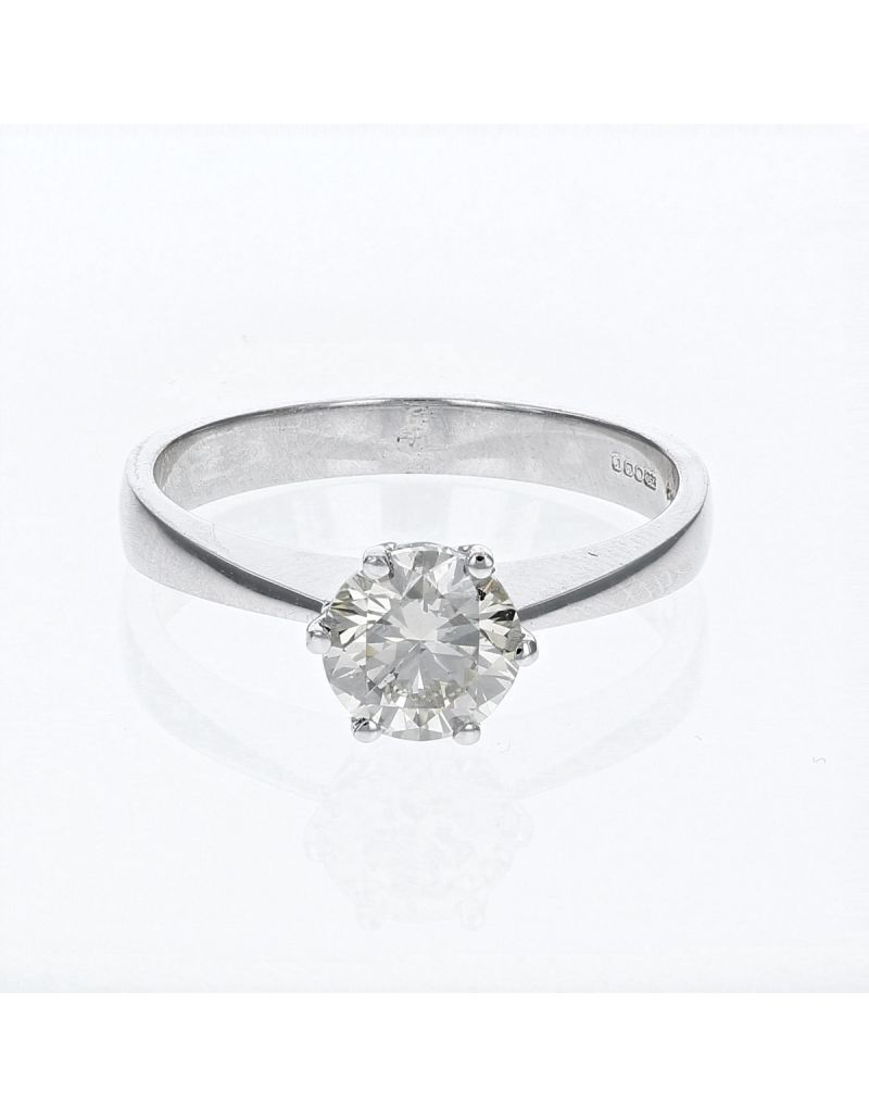 The Olivia Collection Round Brilliant 1.05 Carat AGI Certificated Diamond Ring Set In 18 An Carat White Gold Shank