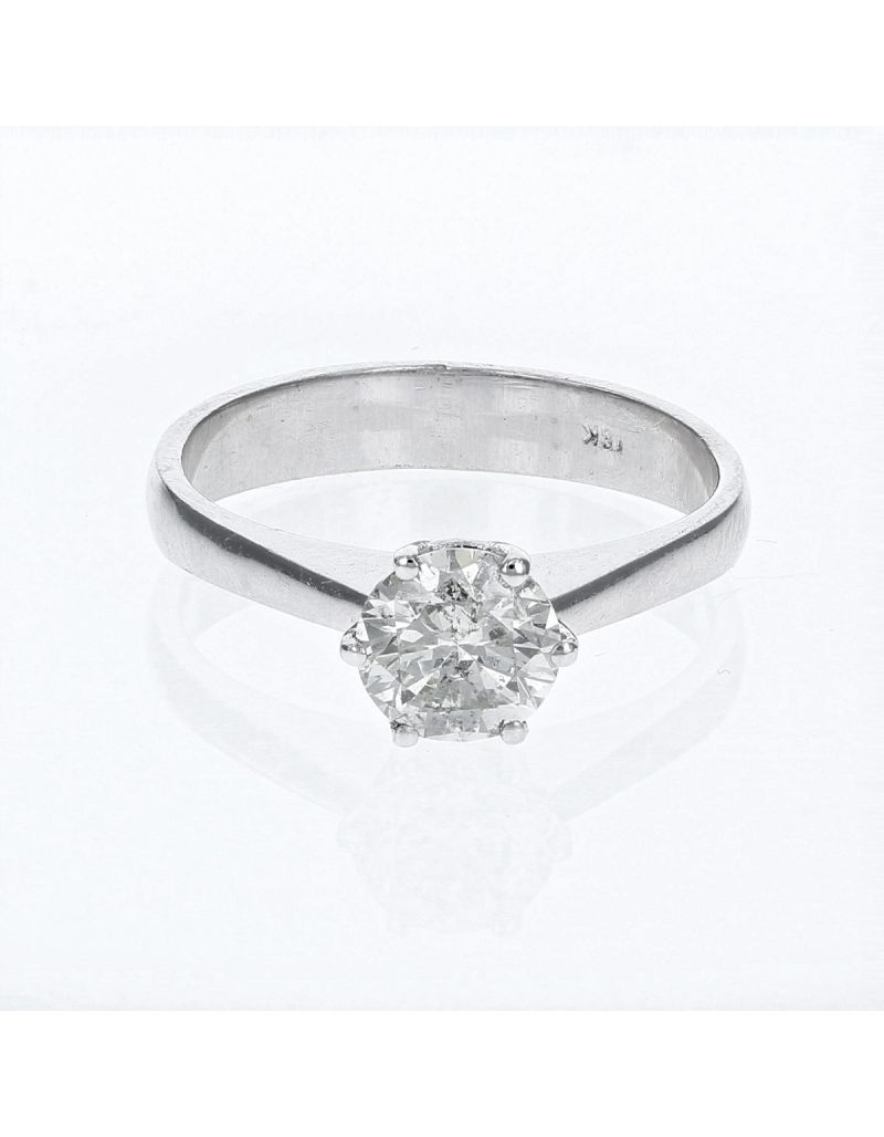 The Olivia Collection Round Brilliant 1.00 Carat AGI Certificated Diamond Ring Set In 18 An Carat White Gold Shank