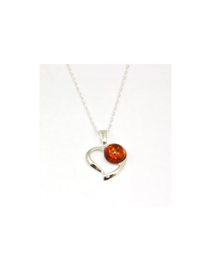 The Olivia Collection Sterling Silver Amber Heart Pendant on 18 Inch Chain