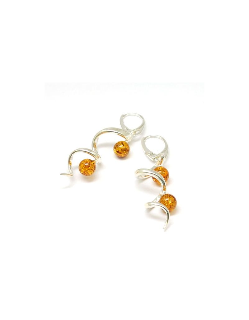 The Olivia Collection Sterling Silver Amber Long Corkscrew Drop Earrings