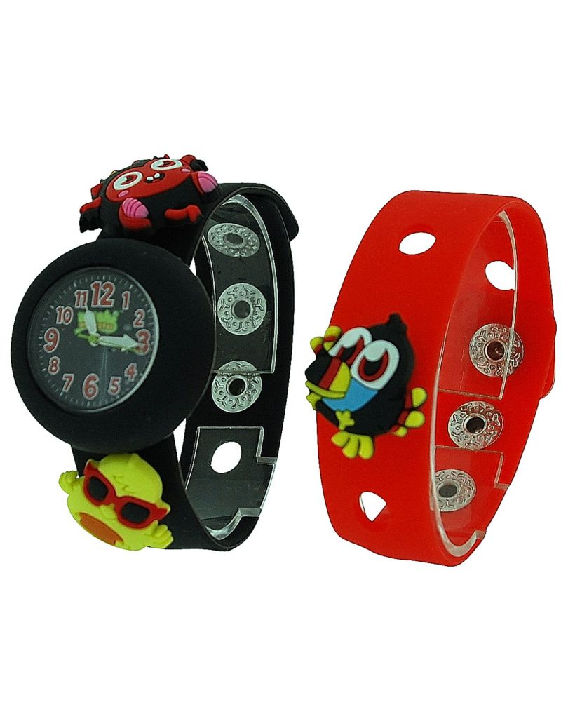 Moshi Monsters Kids Black & Red Interchangeable Strap Watch With Charms AMMDI