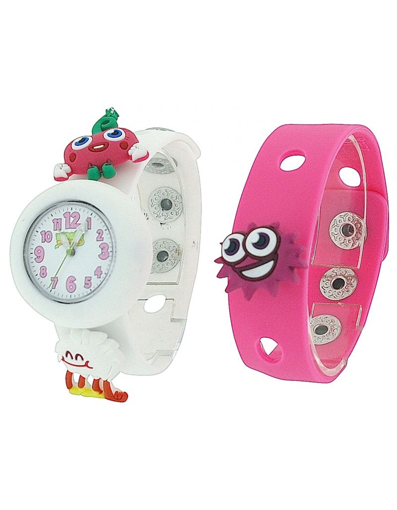 Moshi Monsters Girls White & Pink Interchangeable Strap Watch With Charms AMMLU