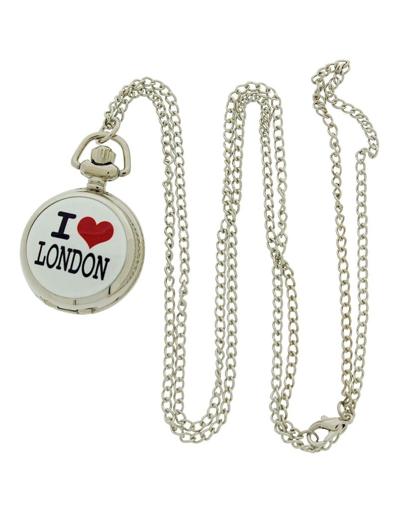 "AN London Ladies ""I Love London"" Pink Dial 30 Inch Necklace Pendant Watch ANPW01"
