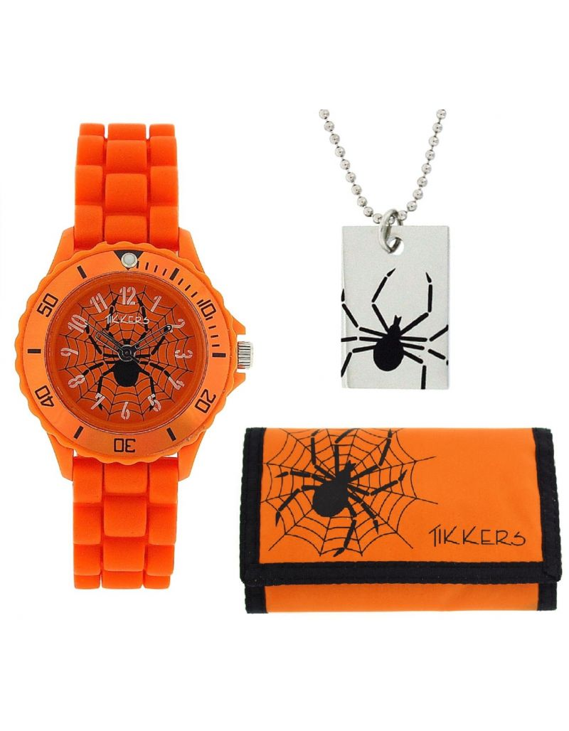 Tikkers Boys Analogue Spider Web Orange Watch Necklace & Wallet Gift Set ATK1000