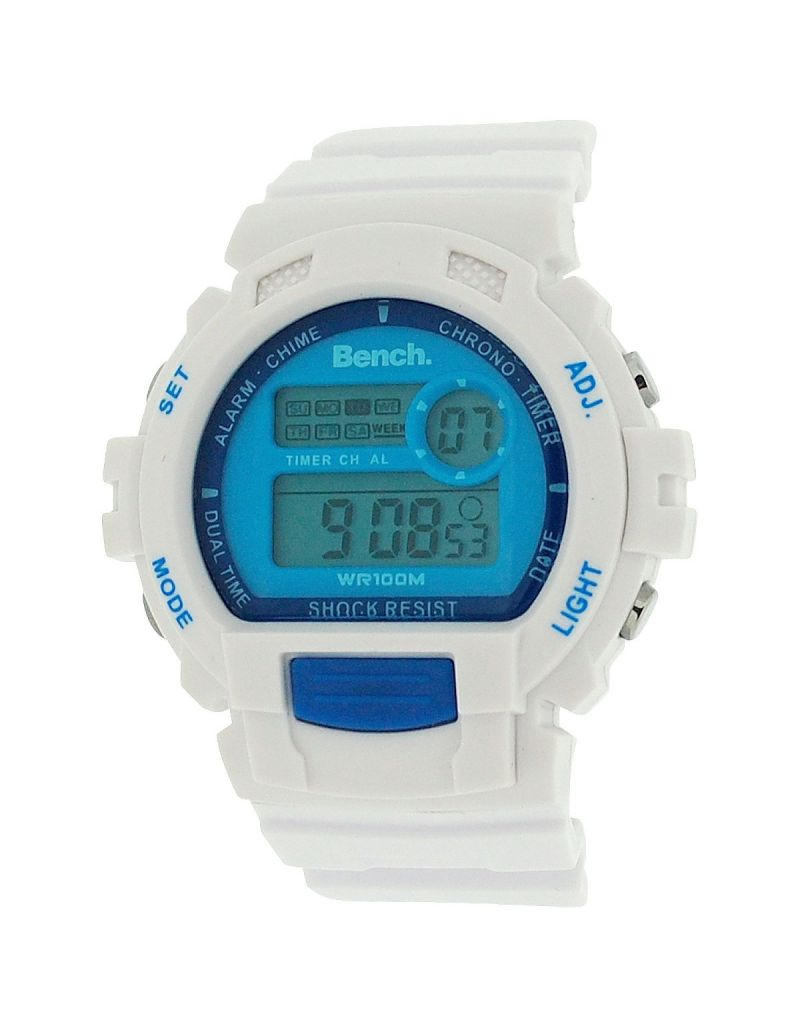 Bench Unisex LCD Digital Display Chronograph White Pu Casual Watch BC0416BLWH