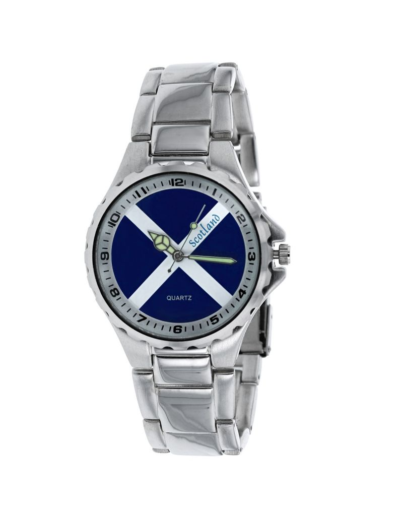 Boxx Analogue Scotland Scottish Flag Metal Bracelet Strap Mens Dress Watch