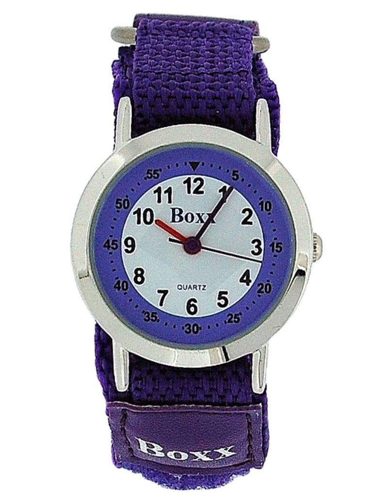 Boxx Girls Analogue Purple & White Dial, Two Tone Purple Easy Fasten Kids Watch