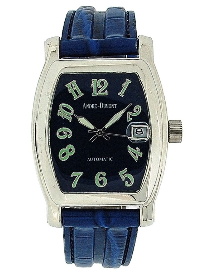 Andre-Dumont Gents Automatic Date Blue Crocodile Effect Strap Watch BOXX204
