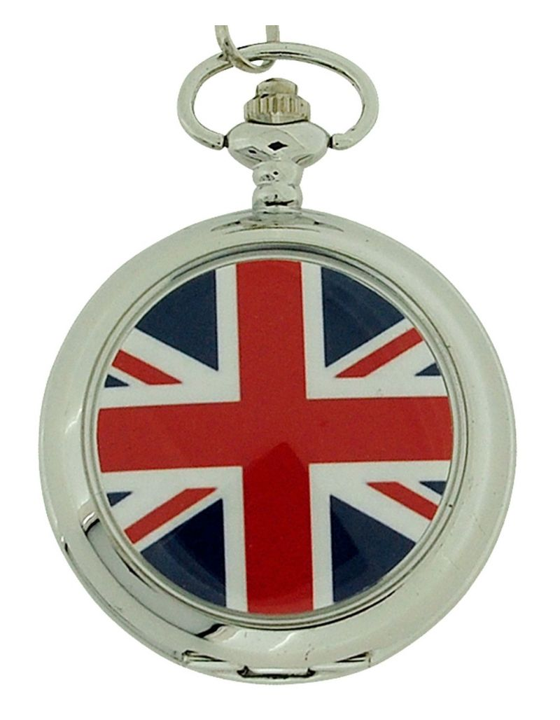 "Boxx British Flag Pocket Watch With 12"" Chain + Cufflinks Ideal Xmas Gift Set"