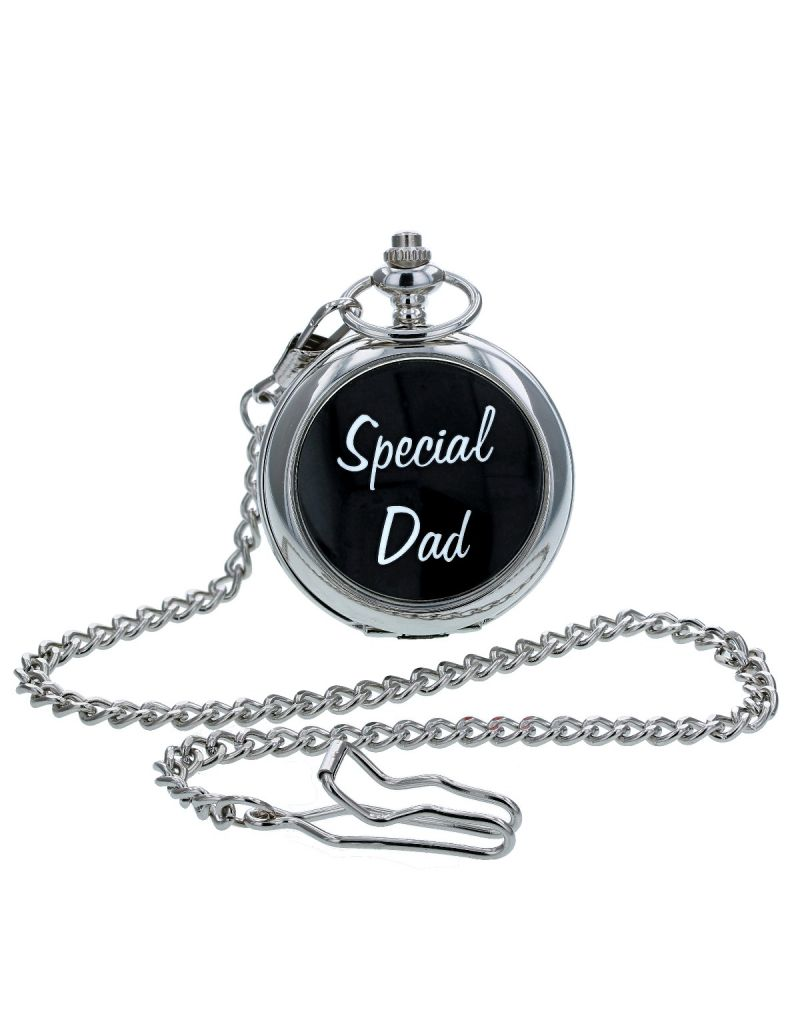 "Boxx Analogue Silver Tone ""Special Dad "" White Dial Pocket Watch & Chain BOXX234"