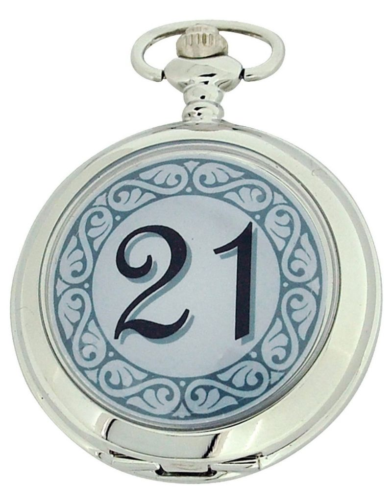"Boxx ""Happy 21st Birthday"" White Dial Gents Pocket Watch 12 Inch Chain Boxx312"