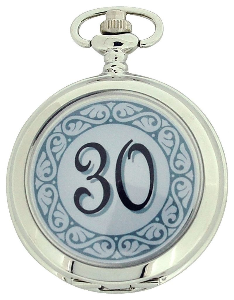 "Boxx ""Happy 30th Birthday"" White Dial Gents Pocket Watch 12 Inch Chain Boxx313"