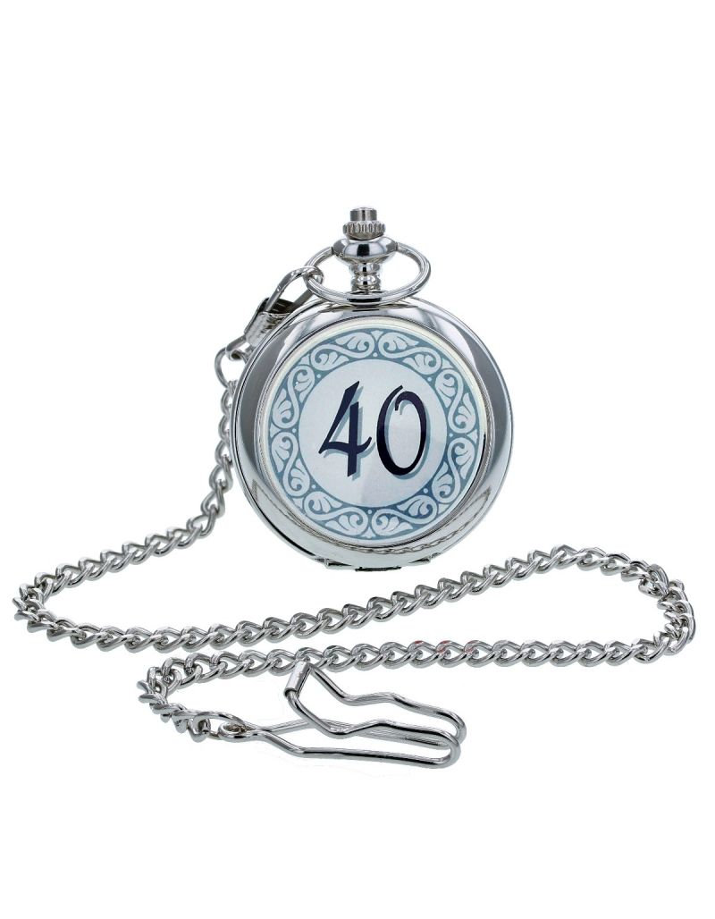"Boxx ""Happy 40th Birthday"" White Dial Gents Pocket Watch 12 Inch Chain Boxx314"