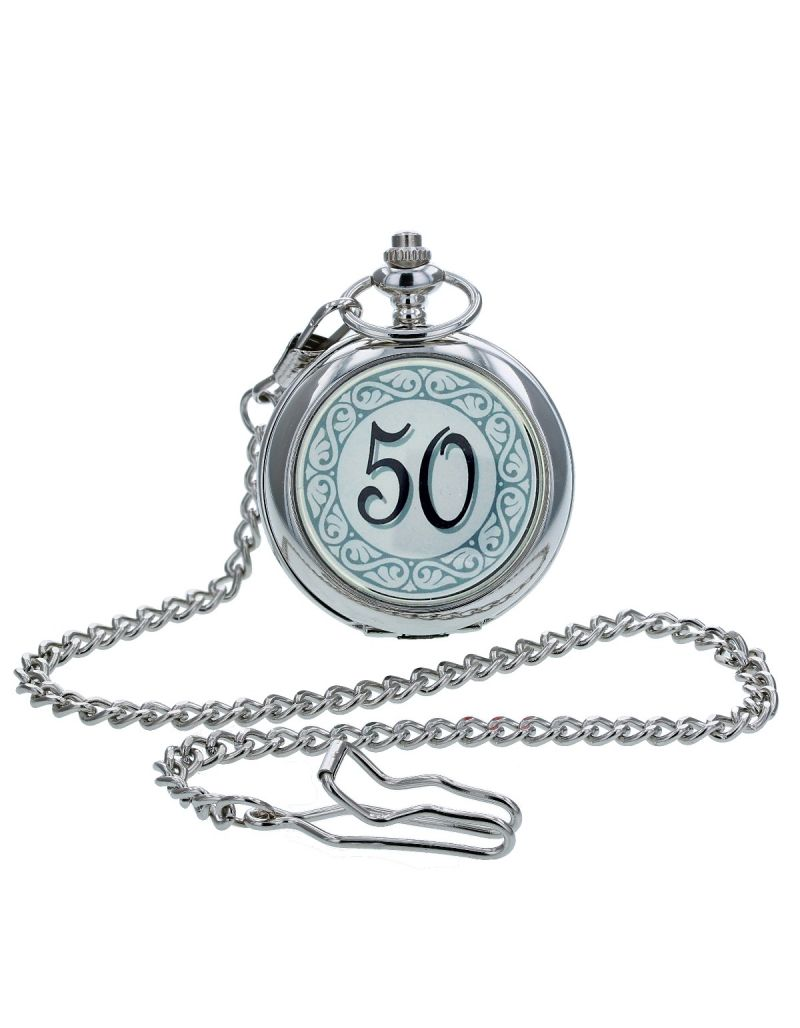 "Boxx ""Happy 50th Birthday"" White Dial Gents Pocket Watch 12 Inch Chain Boxx315"