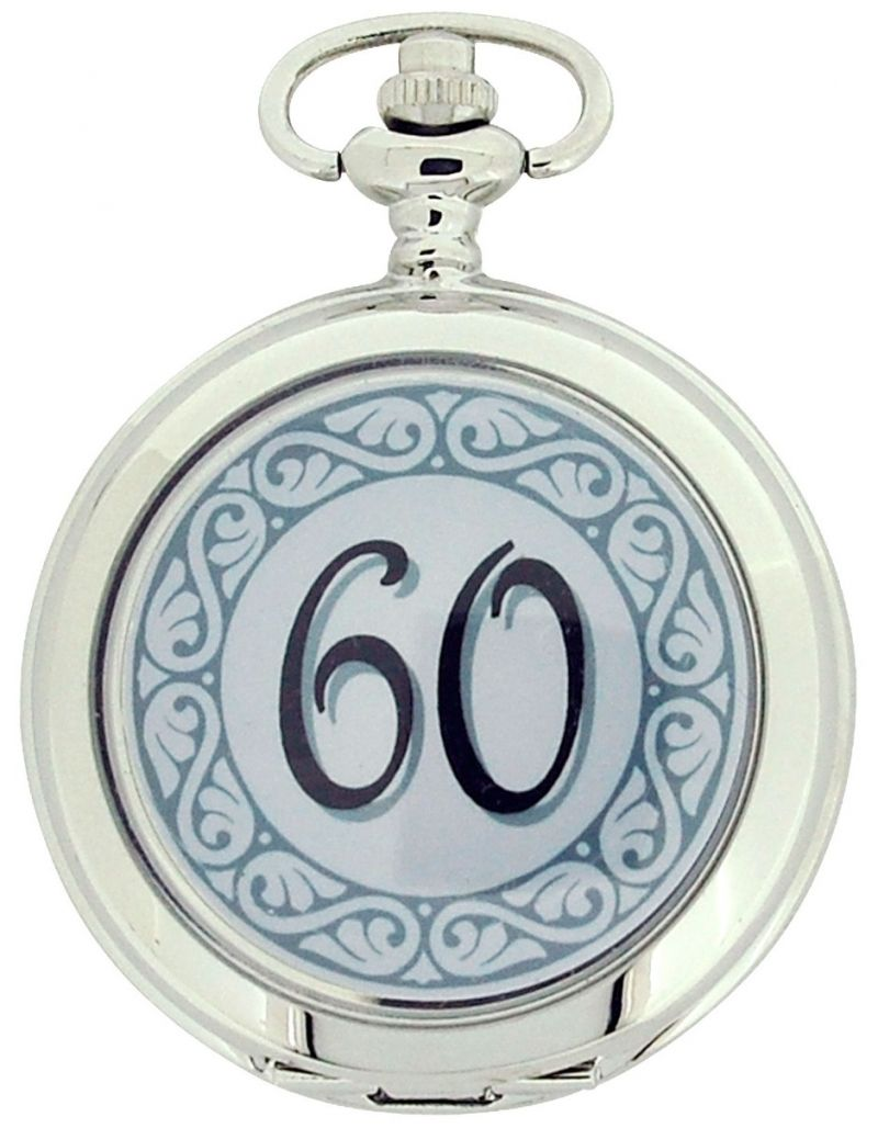 "Boxx ""Happy 60th Birthday"" White Dial Gents Pocket Watch 12 Inch Chain Boxx316"
