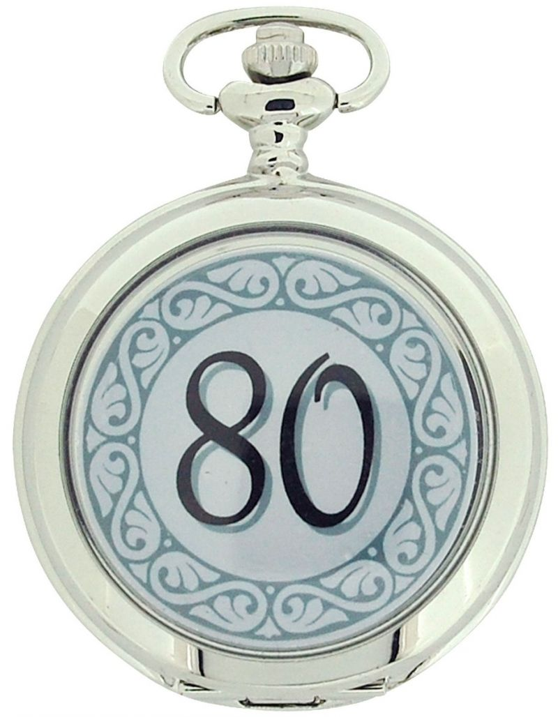 "Boxx ""Happy 80th Birthday"" White Dial Gents Pocket Watch 12 Inch Chain Boxx318"