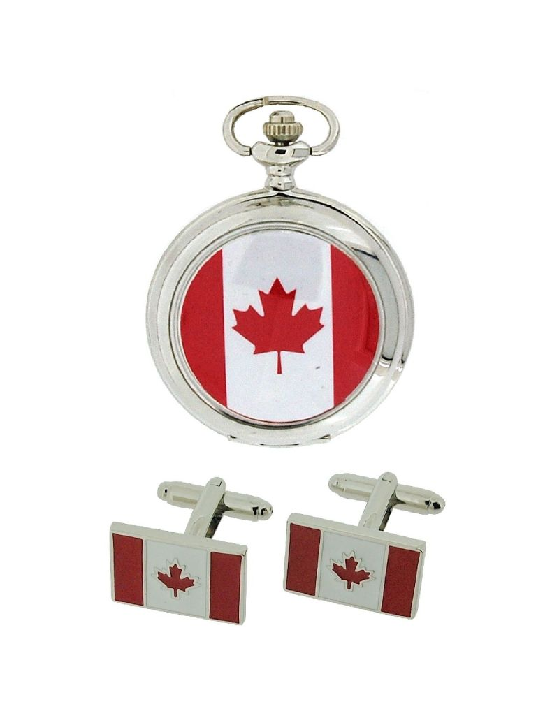 "Boxx Canadian Flag Pocket Watch With 12"" Chain + Cufflinks Ideal Xmas Gift Set"