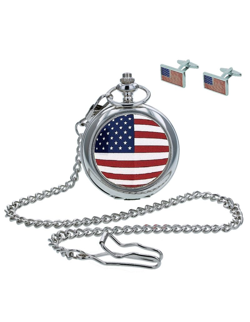 "Boxx American Flag Pocket Watch With 12"" Chain + Cufflinks Ideal Xmas Gift Set"