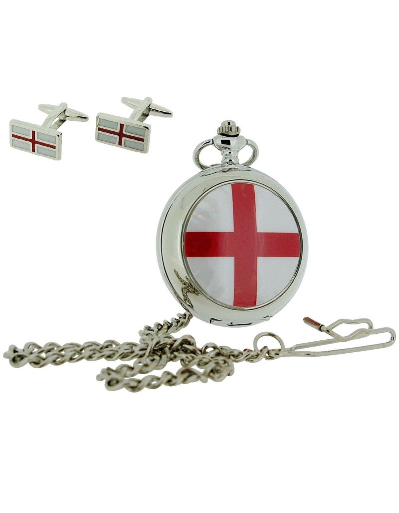 """Boxx St Georges Cross Pocket Watch With 12"""" Chain + Cufflinks Xmas Gift Set"""