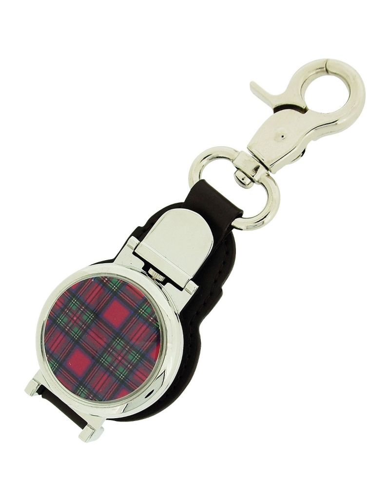 Boxx Gents Blue/ Pink/Green Tartan Picture Keyring Fob Watch, Magnetic Closure