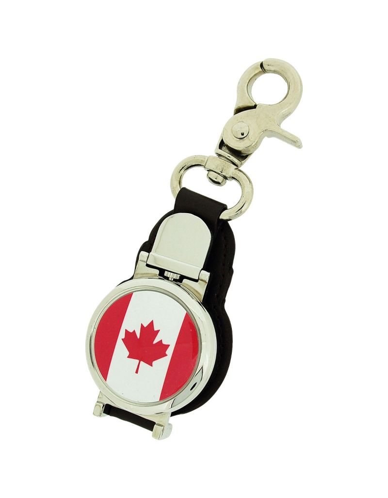 Boxx Gents Canadian Flag Picture Keyring Fob Watch With Magnetic Closure Boxx352