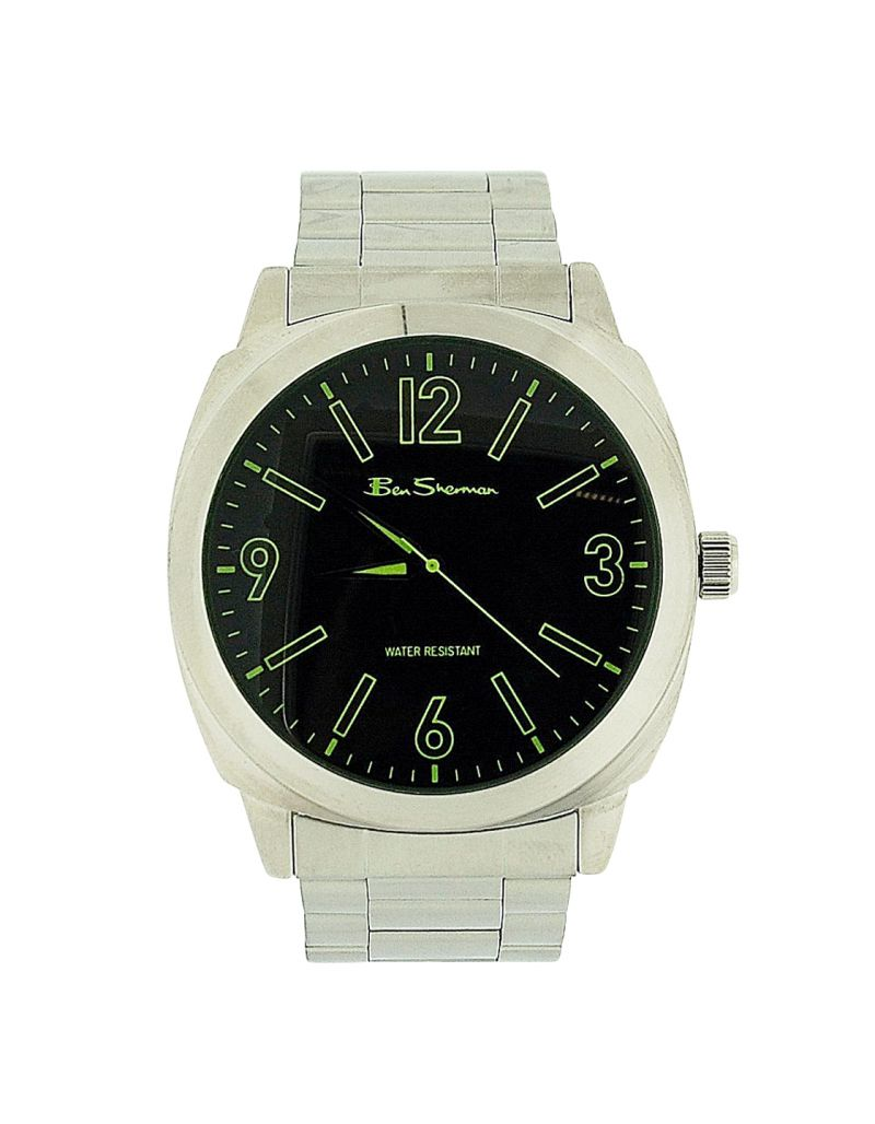 Ben Sherman Gents Green Dial Silver Tone Metal Bracelet Strap Dress Watch BS039