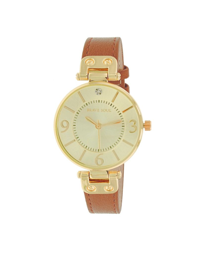 Brave Soul Ladies/Women's Analogue Quartz 3 Hand Movement Goldtone Dial & Brown PU Dress Strap Watch BSL11A