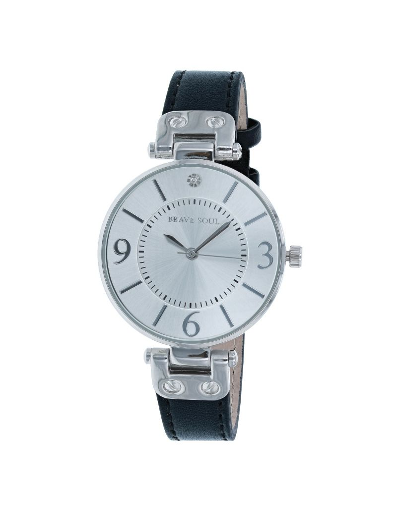 Brave Soul Ladies/Women's Analogue Quartz 3 Hand Movement Silver Dial & Black PU Dress Strap Watch BSL11C