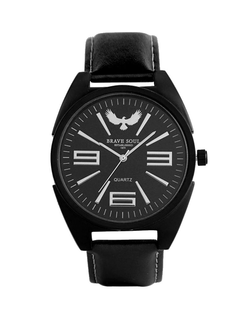 Brave Soul Gents/Men's Analogue Quartz Movement Black Dial & Black PU Strap Watch BSW04C
