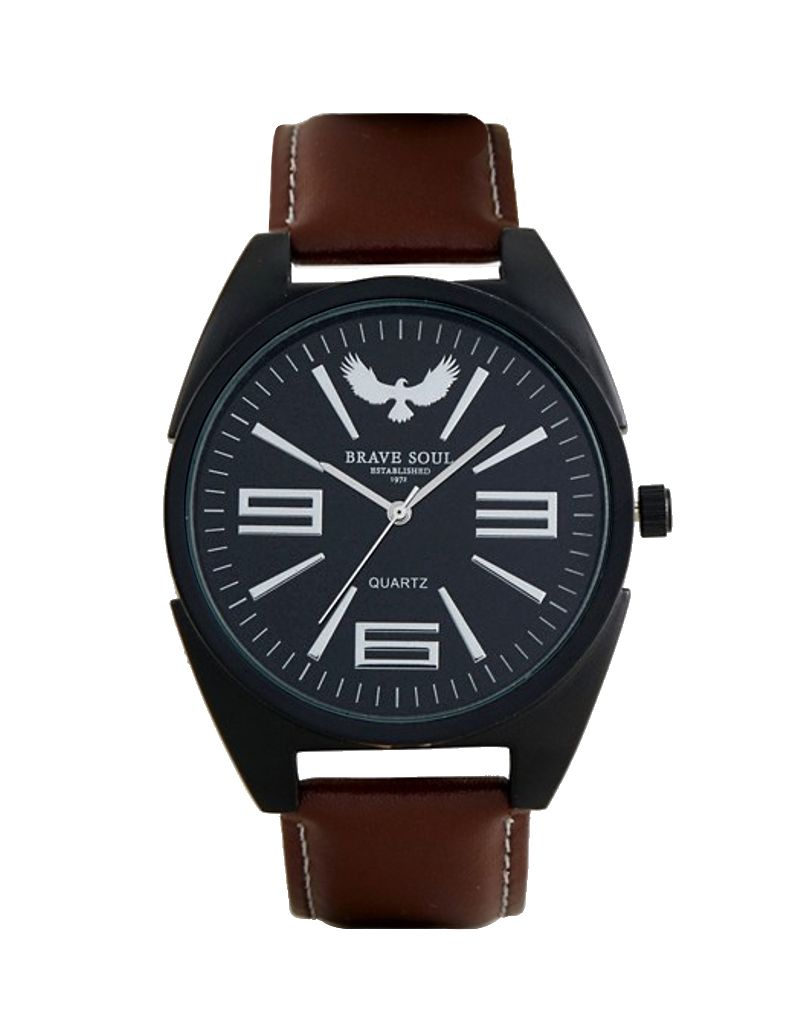 Brave Soul Gents/Men's Analogue Quartz Movement Black Dial & Brown PU Strap Watch BSW04D