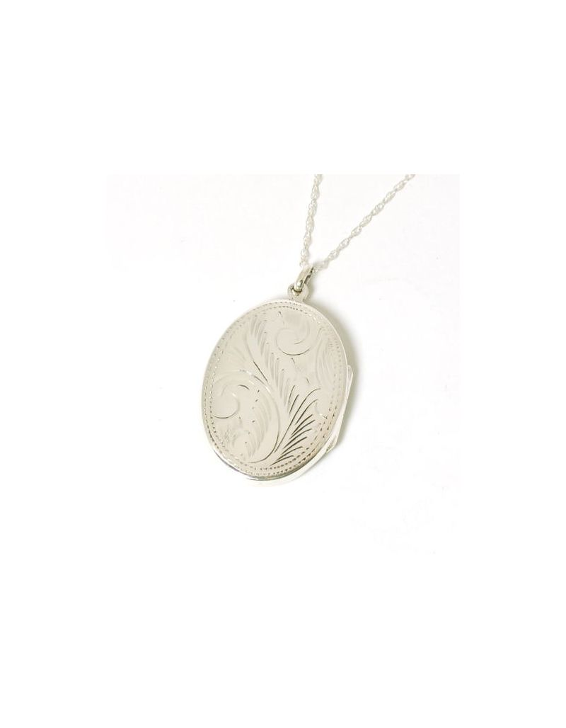 """The Olivia Collection Sterling Silver 38mm Oval Engraved Locket on 18"""" Chain"""